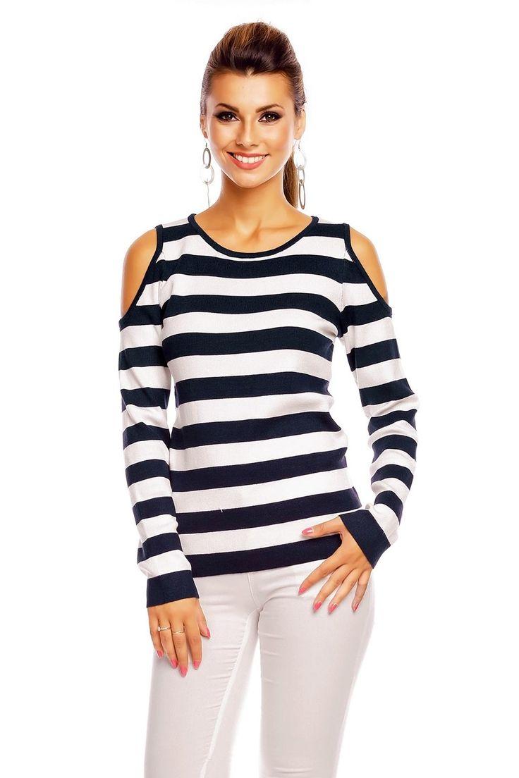 Cold shoulder bluser med striper -Sherry