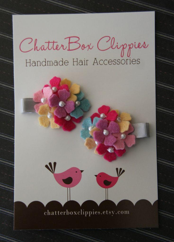 Baby Hair Clips Mini Hydrangea Hair Clips for Infant Toddler Girls. $9.99, via Etsy.