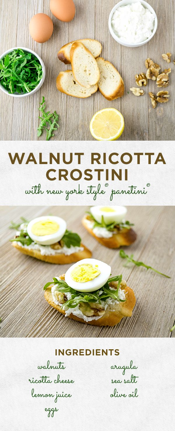 Let's do brunch! These Walnut Ricotta Crostinis with Soft-boiled Eggs on New York Style® Panetini® are the perfect companion for your tea, mimosa or Bloody Mary.