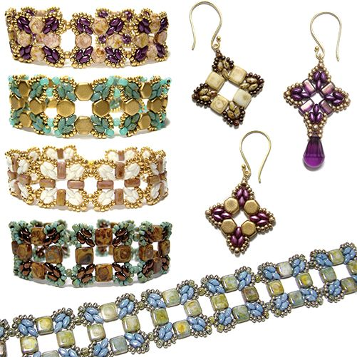 Roundabout Bracelet and Earrings | Bead-Patterns.com