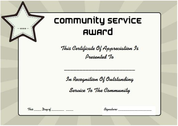 Community Service Certificate Of Appreciation Service Awards Certificate Templates Certificate Of Recognition Template