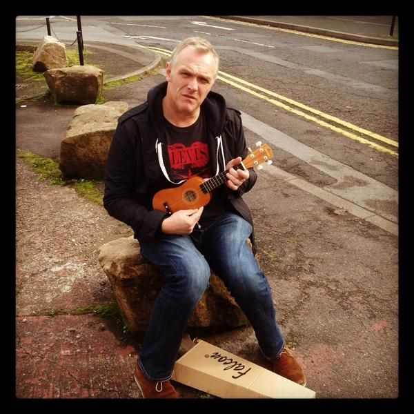 I don't know if Greg Davies actually plays or not, but he looks cheddar gorge holding a uke.