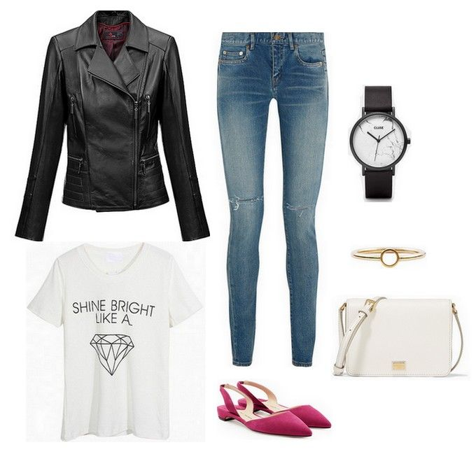 black leather jacket - Carl Verssen, blue jeans, white tshirt, watch, pink shoes, white bag, gold ring