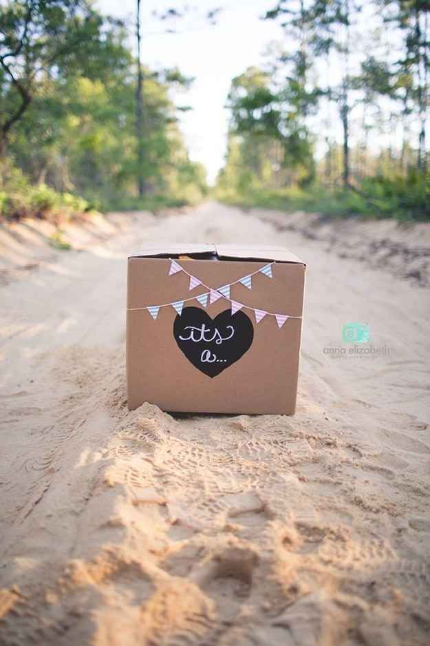 After a bit of research, they settled upon the perfect idea: Using a labeled box filled with tannerite and colored chalk powder to reveal their baby's sex.