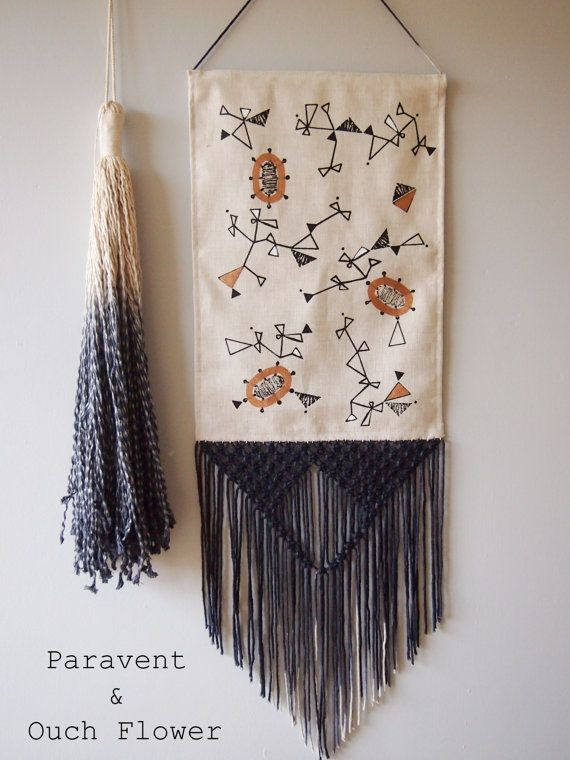 wall art pack a screen printed wall hanging with a hand dyed macram fringe and matching tassel. Black Bedroom Furniture Sets. Home Design Ideas