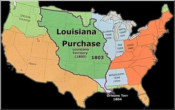 The Louisiana Purchase Agreement. Thomas Jefferson bought this huge land area from Napoleon Bonaparte in 1803. He then sent the Lewis and Clark Expedition to the region.
