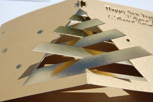 Company Christmas Cards UK - Original Fur-Tree on Blue - Polina Perri