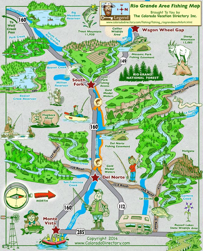 Rio grande area fishing map south fork fishing map the for Colorado fishing map