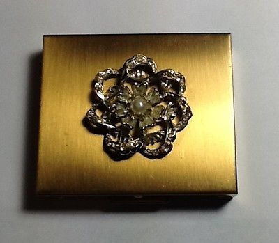 vintage gold compact mirror. amazing vintage gold toned fifth ave rhinestone flower powder makeup compact mirror m
