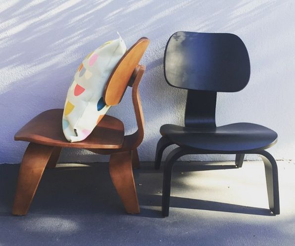 Replica Charles Eames Kids Wood Lounge Chair - Available in black or walnut