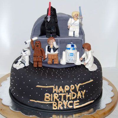 Star Wars Lego cake idea...but we will use actual Lego figures