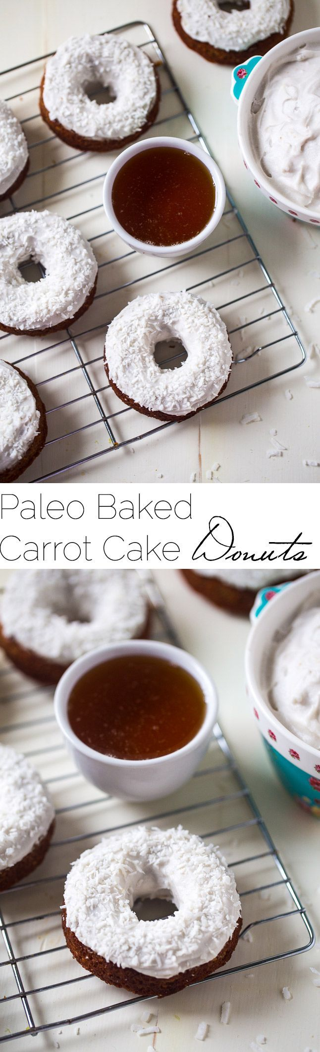 Gluten Free Carrot Cake Baked Donuts - Made in one bowl, healthy and Paleo friendly! Coconut cream frosting add the perfect, Easter touch!   Foodfaithfitness.com   @FoodFaithFit