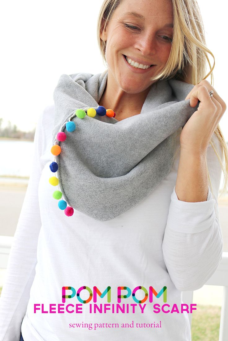 pom pom fleece infinity scarf pattern - pom pom neck warmer DIY
