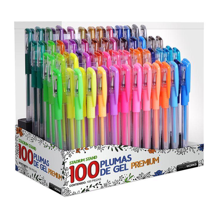 Set de 100 plumas de gel de colores Office Works
