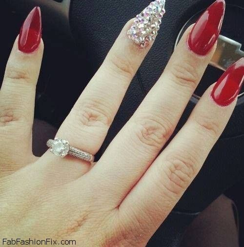 11 best long red classic nails images on pinterest nail art long red nails with glitter inspiration prinsesfo Images