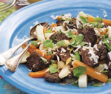 Recept: Högrev med rotfrukter och pepparrotstillbehör