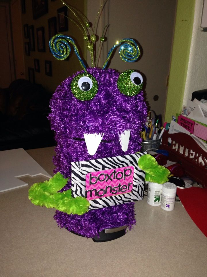 """Laurie H. from Arizona shared this fun container: """"I've been making Box Tops containers for the teachers at our school this year, figuring that the more eye-catching they are, the more students and parents will remember to collect Box Tops. This is my latest one!"""""""