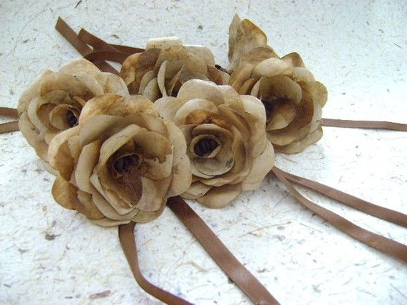 Conjunto com 6 (seis) Flores de filtro de papel usado (tratado) Argola de…