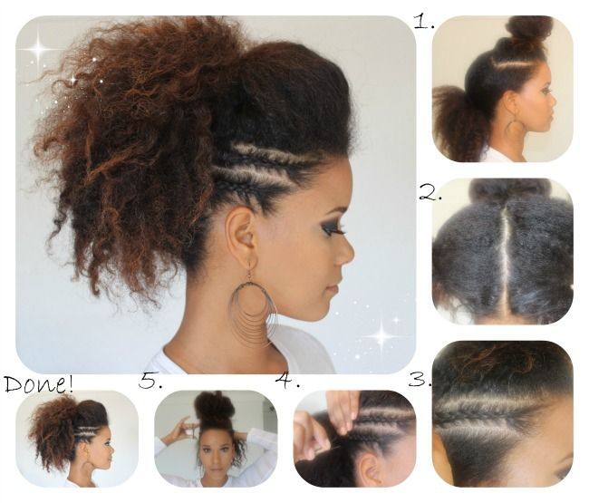 Stunning Braided Hairstyle Tutorials to Master : # 11 : Ponytail Faux Hawk with Side Braids