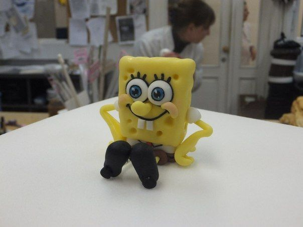 Turorial : How to make characters of SpongeBob SquarePants in polymer clay / Tutoriel : Réaliser Bob l'éponge, Patrick et Gary en pâte polymère Bob : Patrick : Gary : source : https://vk.com/asia.handmade