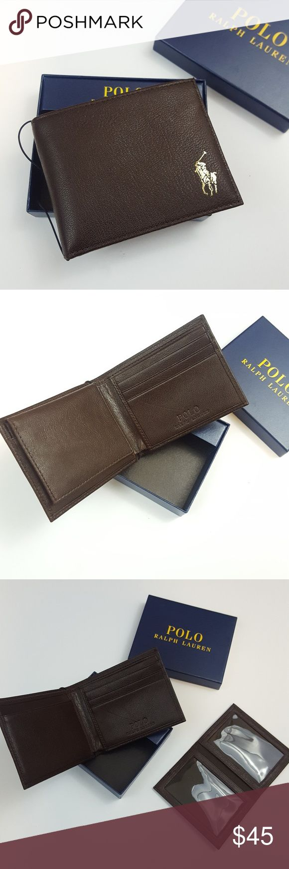 ♂ NWT POLO RALPH LAUREN Bifold Leather Wallet 100% AUTHENTIC  COLOR: Dark Brown  Interior featured: 3 credit card slots 3 slip pockets with tworemovable ID slots 2 Bill Compartments  Check out my other Nike, Diesel, Under Armor, Ralph Lauren,Burberry,J Crew,Brooks Brothers,Cole Haan,Zara,Sperry items. Ralph Lauren Bags Wallets