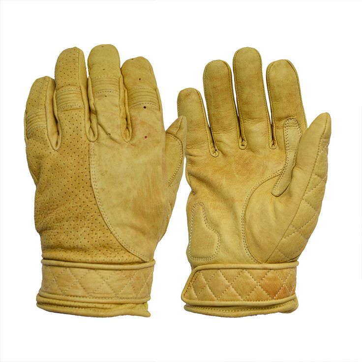 Short Classic Waxed Tan / Yellow Leather Bobber Motorcycle Gloves by Goldtop - Fleece Lined Cruiser and Harley Style Summer Gloves