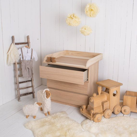 Handmade nappy-changing, changing table top made of natural wood for all IKEA Malm dressers with a depth of 48-50cm. With our new top made of natural