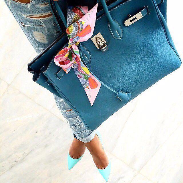 Loving this blue/green Hermes Birkin #hermes #tote #bag