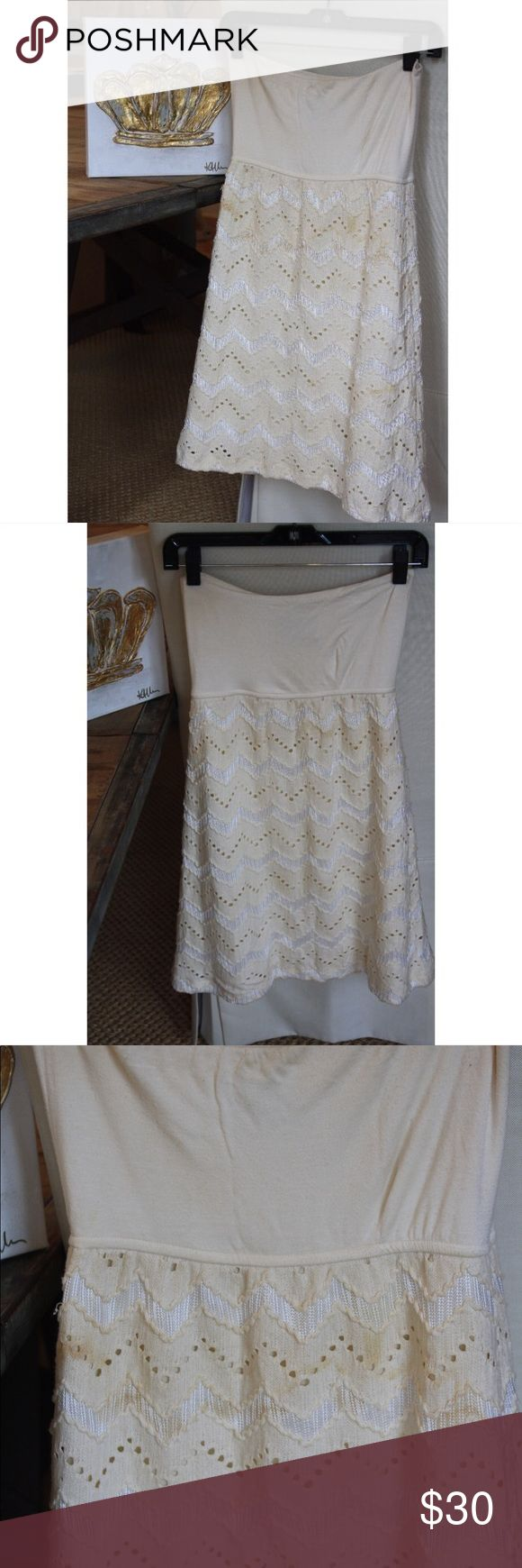 Judith March white chevron strapless dress Used but still in pretty good condition!! Gorgeous dress. Great for summer. A little bit of pilling on the top part but not very noticeable especially when it is on. I did not find a size on the dress but assuming it is a Small because that was my size when I bought the dress Judith March Dresses Mini