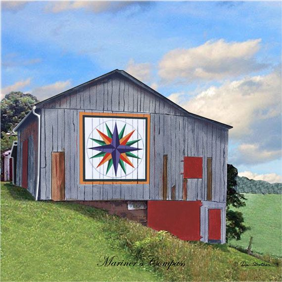 Free Barn Quilt Patterns | Quilt Barn Tile with Mariners Compass Pattern by imagesetc on Etsy