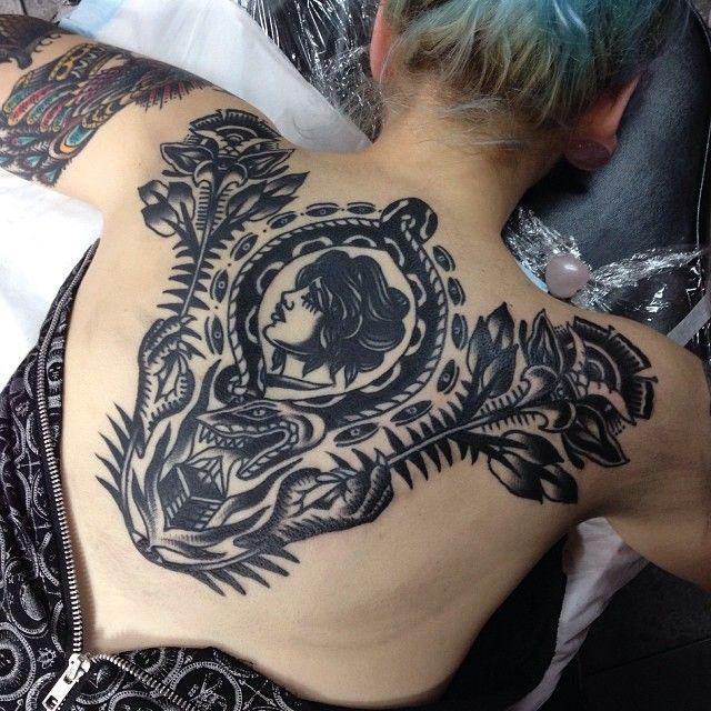 Cameo. American. Back. Tattoo.