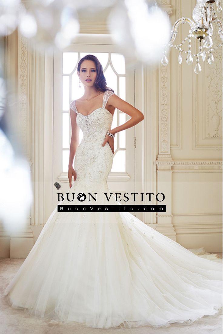 2014 cinghie Abito da sposa corsetto in rilievo della sirena / tromba Con Tulle di Applique Cattedrale di treno
