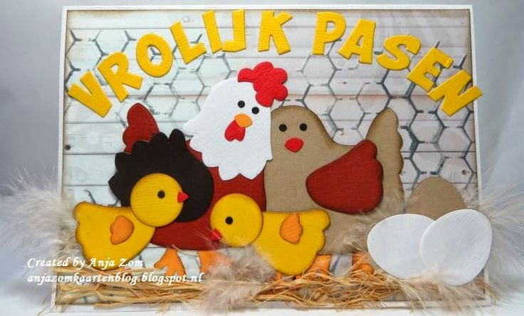 Easter card by DT member Anja with Collectables Alphabet (COL1350) and Mother Hen (COL1351) from Marianne Design