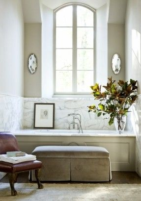 marble-bath-robert-brown-interior-design. add an antique chair to this setting..