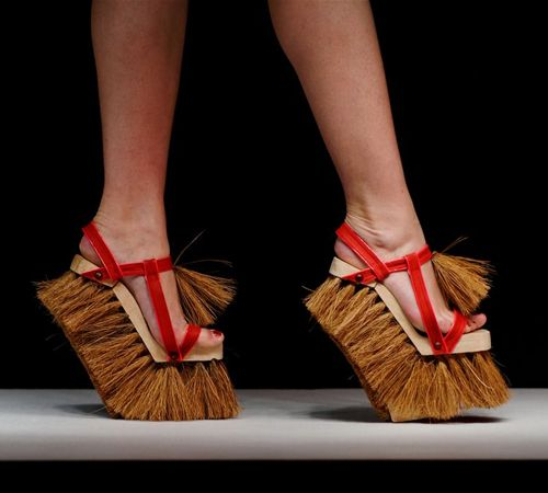 A broom is history; you can now sweep the floor with your shoes! I'm going to make my pretend maid wear these.