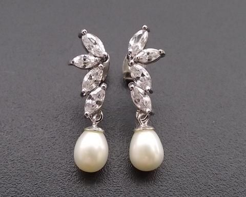 Teardrop Pearl Wedding Silver Earrings, Shelly