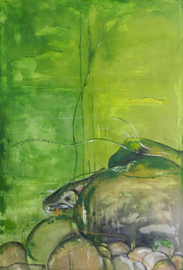 Maleri: Fisk bag sten Mål 100x150cm Under vandet er der liv