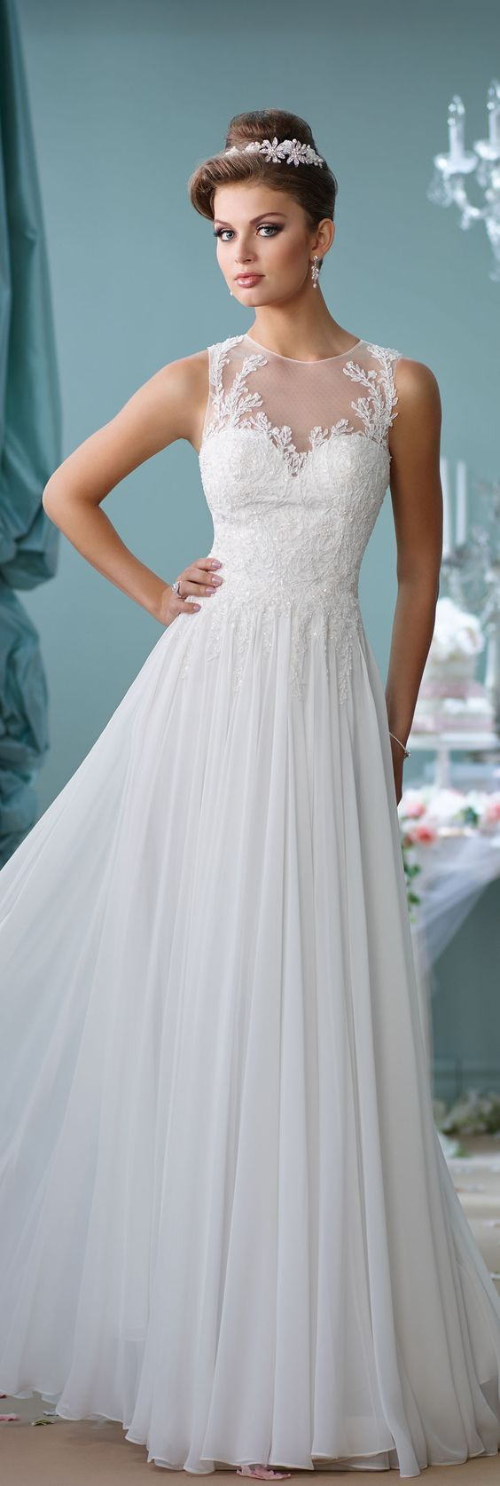 Mon Cheri Spring 2016 Lace Wedding Dress/ http://www.deerpearlflowers.com/lace-wedding-dresses-and-gowns/3/