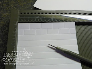 Brick Wall background using a score board ~ http://debbiesdesignsblog.blogspot.com/2012/04/tuesday-tips-or-techniques-brick-wall.html