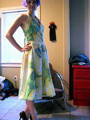 Turn an old bedsheet into a summer dress.
