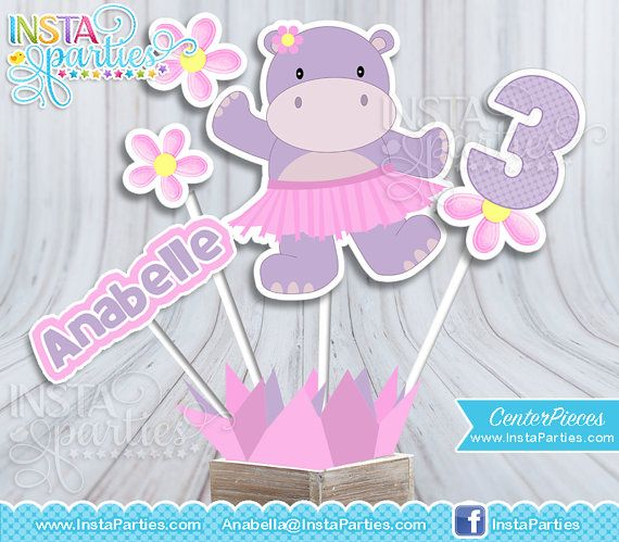 Pink Hippo centerpiece girl purple, hippo center pieces, hippo girl party supplies, Hippo decorations Birthday Party digital