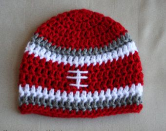Crochet OSU Buckeye | Crochet Football Hat, Football Bean ie, Baby Football Hat, Ohio State ...