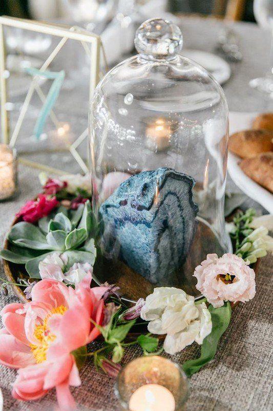 Modern wedding centerpiece idea - geode in bell jar - florals and votive candles {Vault + Vine}