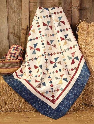 Patriotic Valor Quilts Quilt Kit Whirl-A-Jig Red White Blue Fabric