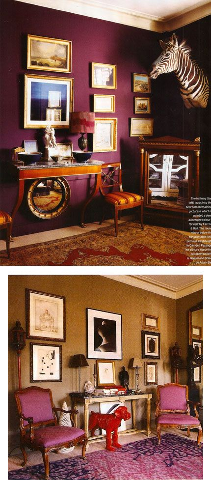 As featured in Sept 2010 House & Garden magazine. Nicolo Castellini Baldissera designed this bedroom. Walls in Farrow & Ball 'Brinjal'. Sumptuous!