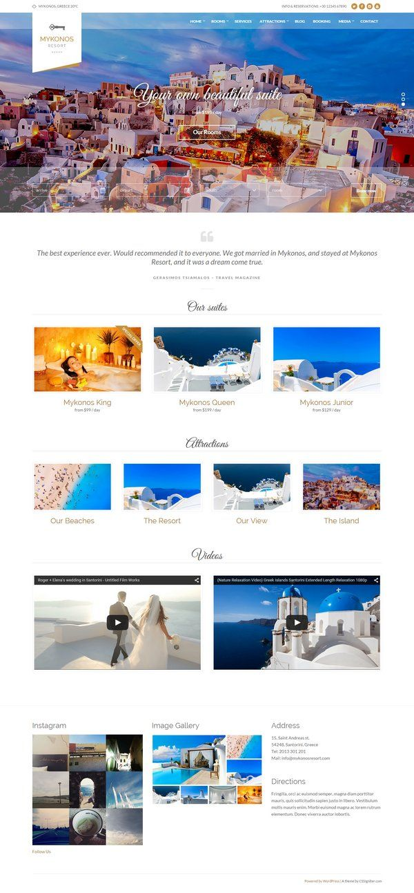 Mikonos Resort - Prezzo: $48  http://www.siamoalcompleto.it/temi-wordpress-per-bb/