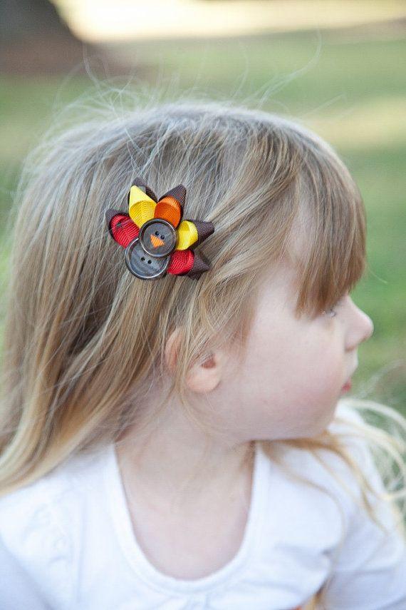 Turkey clip Etsy listing at https://www.etsy.com/listing/168309623/thanksgiving-turkey-hair-clip $5.00
