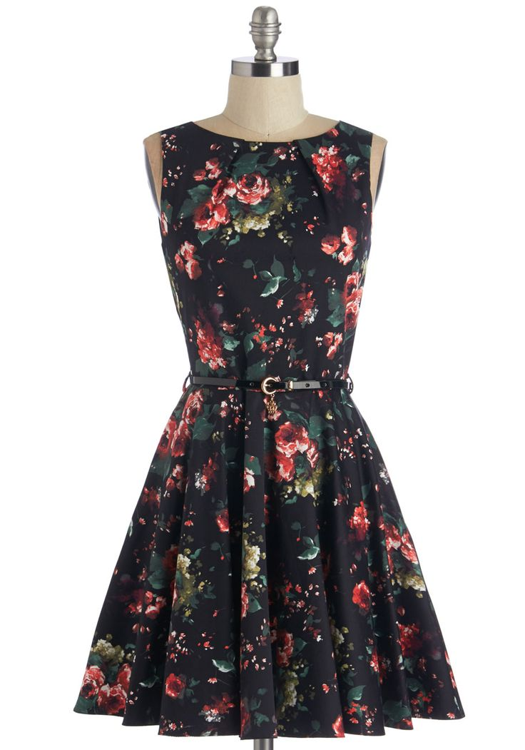 Luck Be a Lady Dress in Roses. If youve been searching for a charming new frock, then youre in luck! #black #modcloth