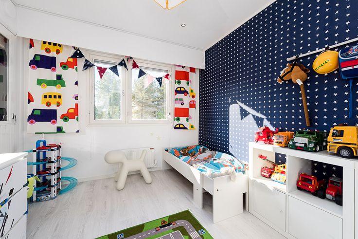 boy's room, marimekko car fabric, Eero Aarnio Puppy, Ikea furniture