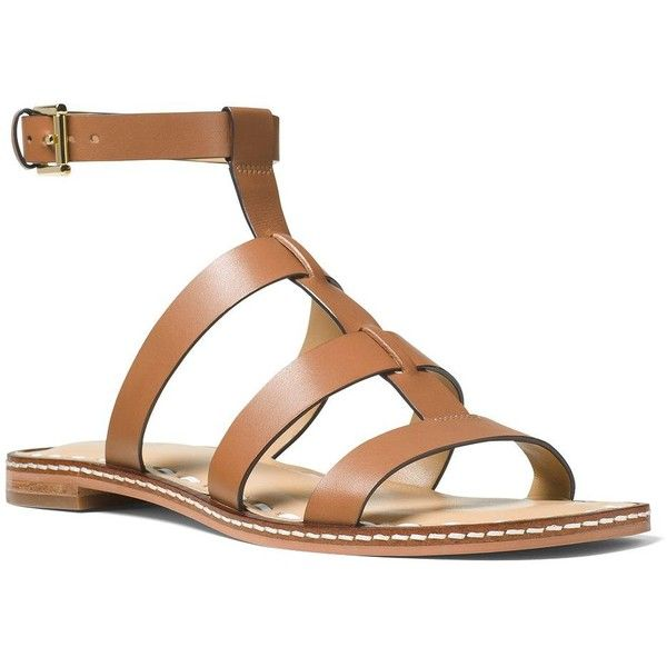Michael Michael Kors Women's Fallon Leather Flat Sandals (320 RON) ❤ liked on Polyvore featuring shoes, sandals, orange acorn, white leather sandals, ankle strap flat sandals, ankle tie sandals, white leather shoes and ankle strap sandals